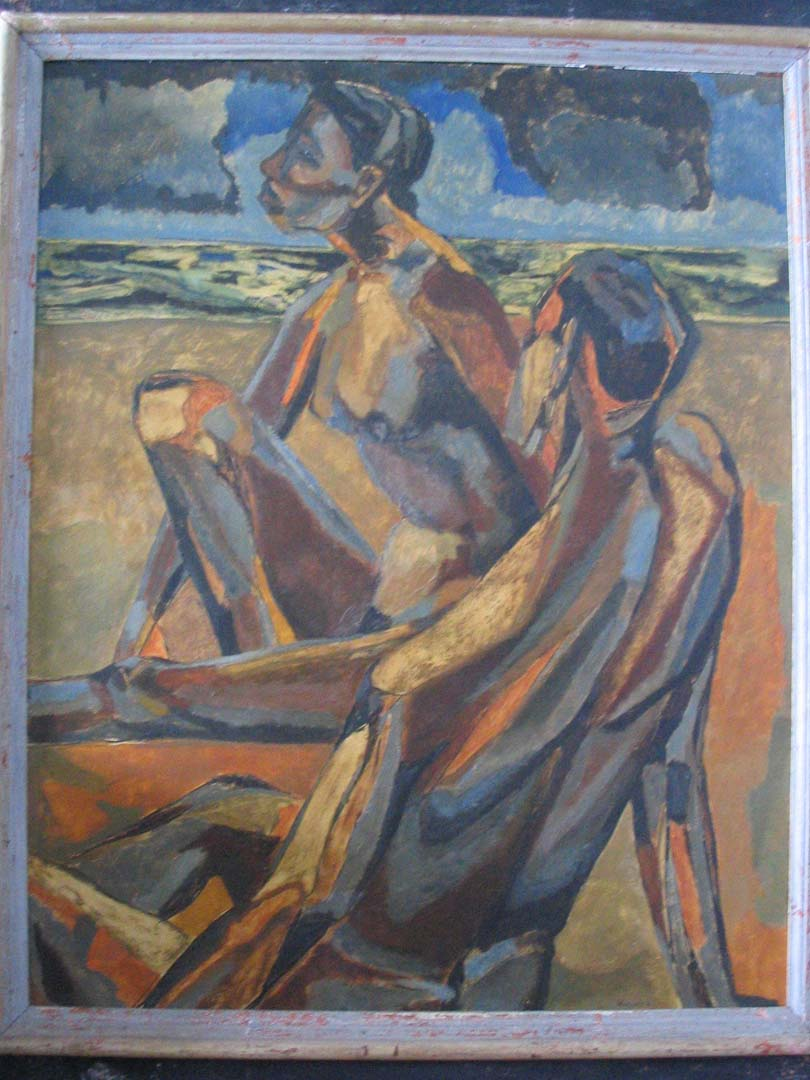 "1949 Two Nudes on a Beach (Melanctha) Oil on Canvas 30"" x 24"""
