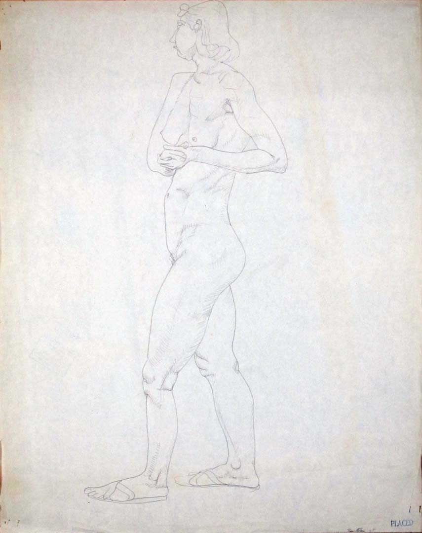 """1948 Standing Female Model with Hands Clasped Pencil on Paper 23.875"""" x 18.875"""""""