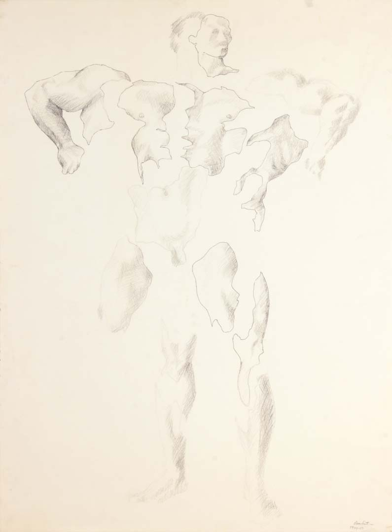 """1950 Study for Unknown Hero Graphite on Paper 23"""" x 17 """""""
