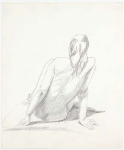 1969 Back of Seated Female Model Pencil on Paper 17 x 13.75