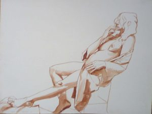 1969 Female Model reclining Backwards Sepia on Paper 20.75 x 27.375