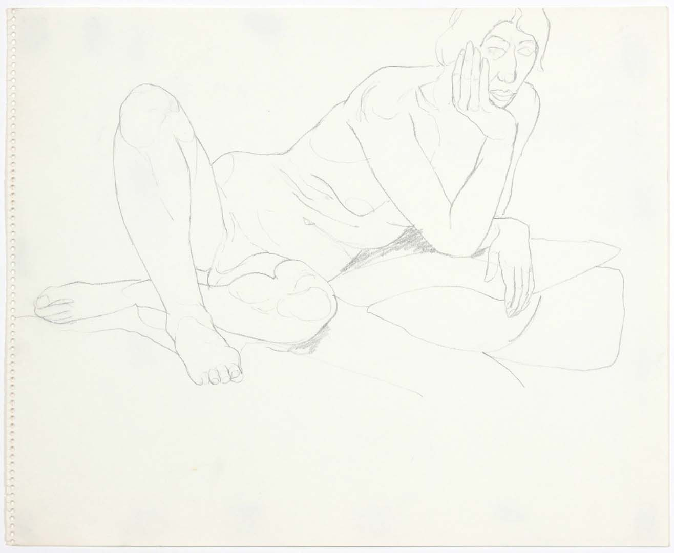 "1969 Leaning Female Model with Legs Crossed Pencil on Paper 14"" x 17"""