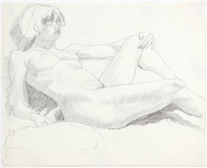 1969 Leaning Female Nude with Cat Pencil on Paper 14 x 17