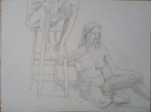 1969 Seated Models with Stool Pencil on Paper 18 x 24