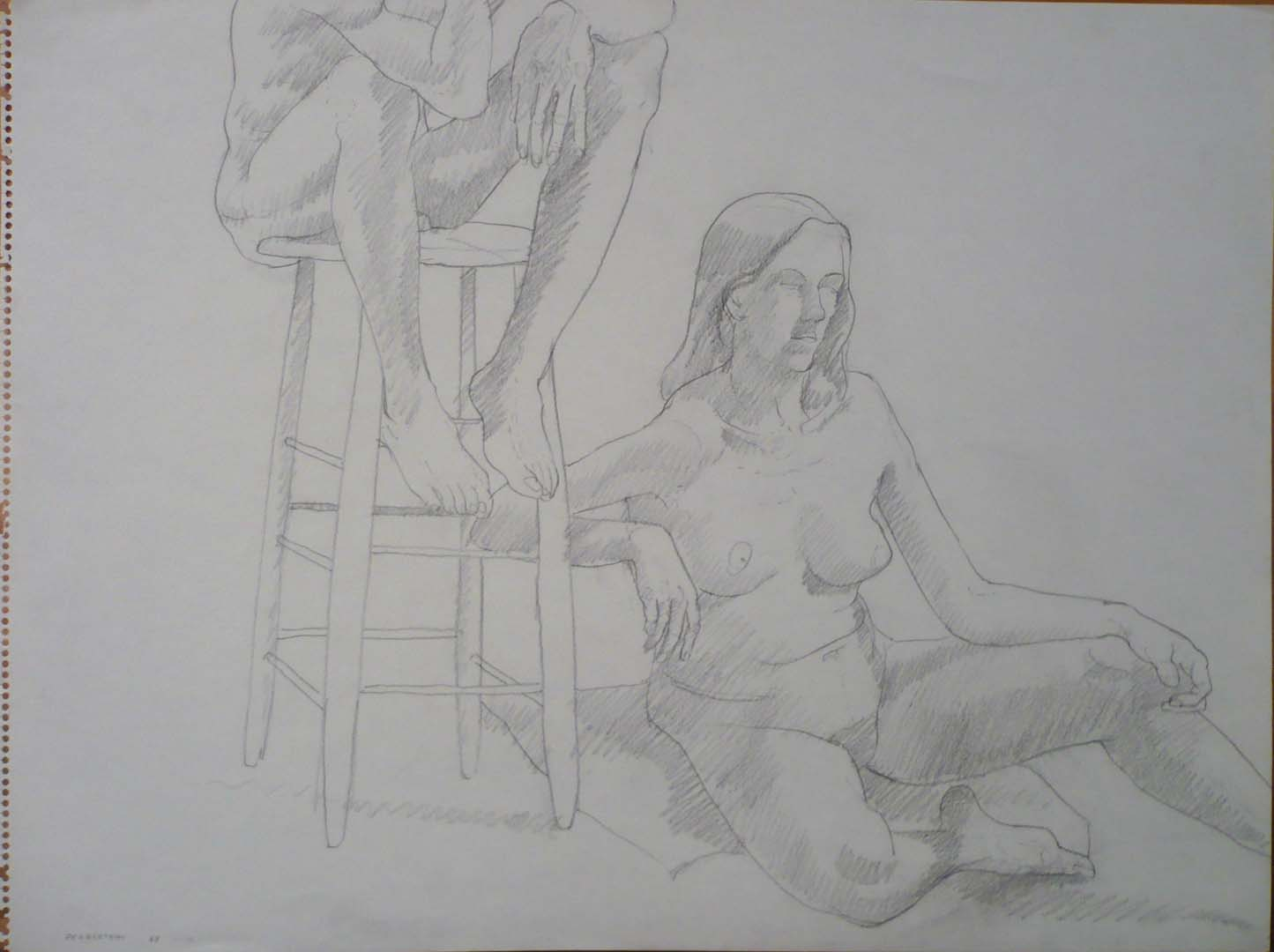 "1969 Seated Models with Stool Pencil on Paper 18"" x 24"""