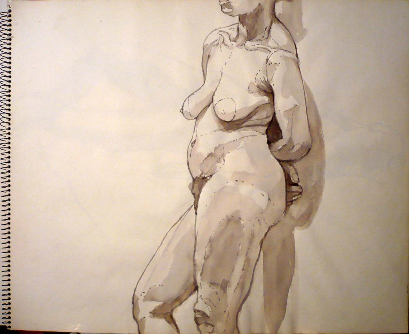 1969 Standing Nude Mode Wash on Paper 14 x 17