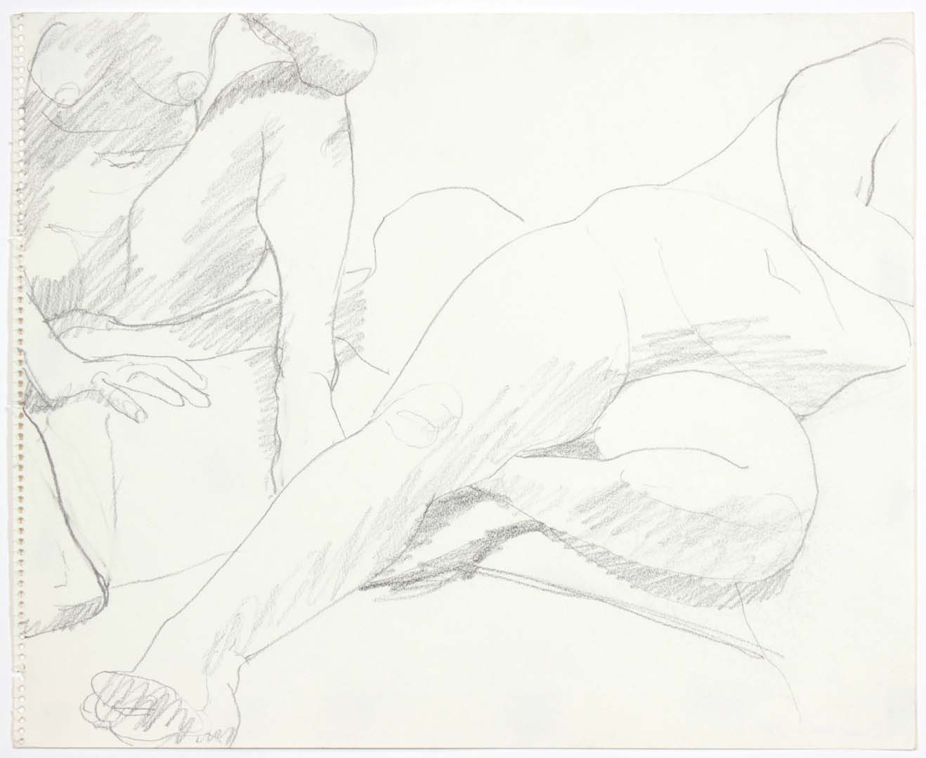 "1969 Two Female Models in Studio Pencil on Paper 14"" x 17"""