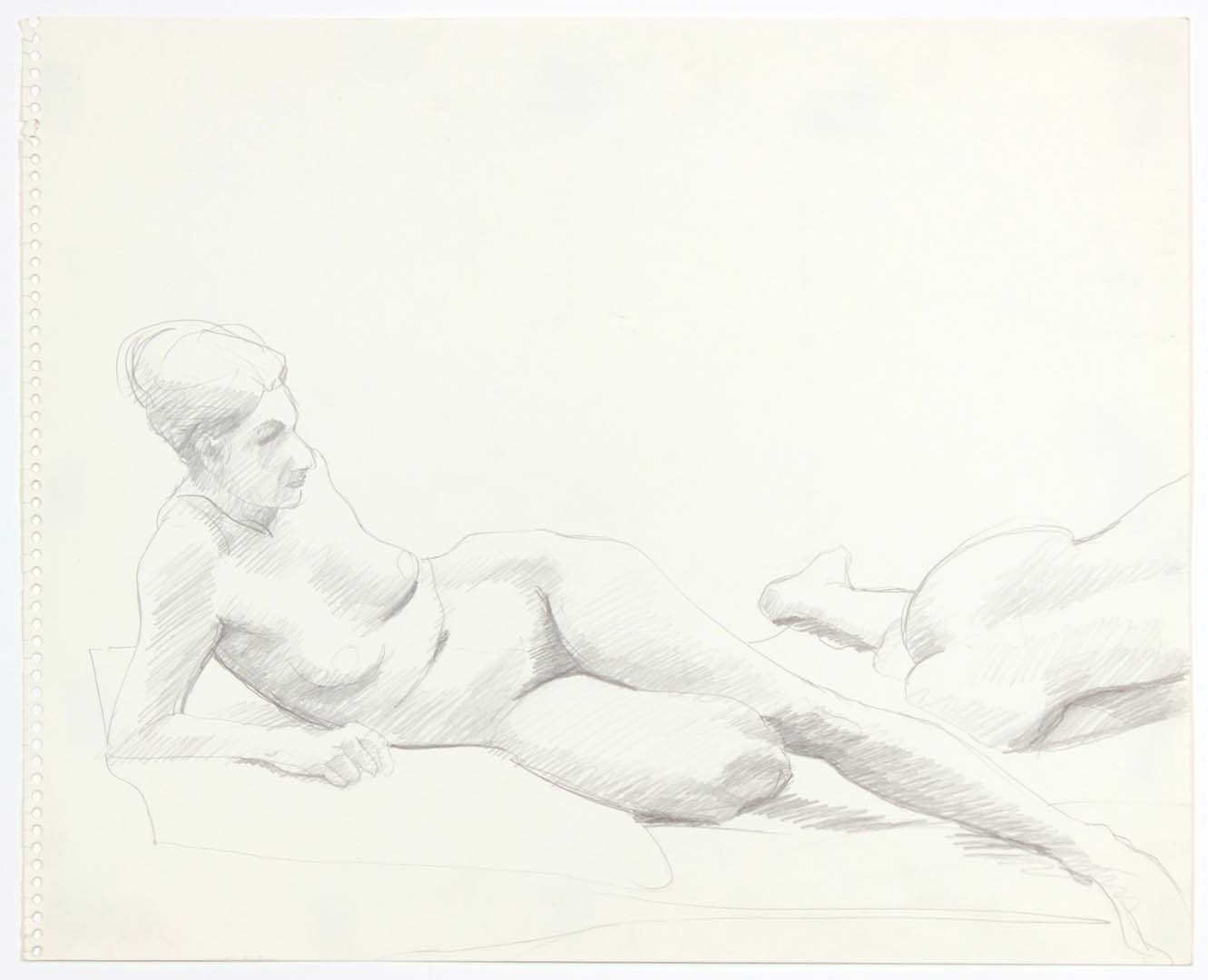 "1969 Two Female Nudes Reclining Pencil on Paper 13.75"" x 17"""