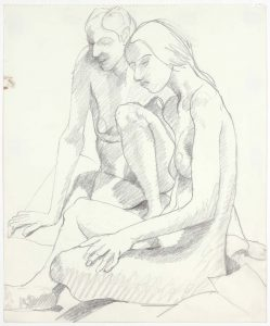 1969 Two Seated Female Models Pencil on Paper 17 x 14