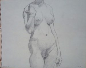 1961 Female Model Standing Pencil on Paper 11 x 14