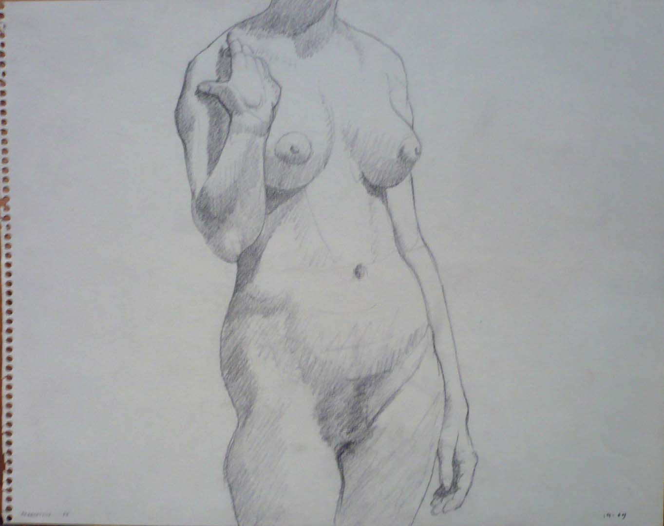 "1961 Female Model Standing Pencil on Paper 11"" x 14"""
