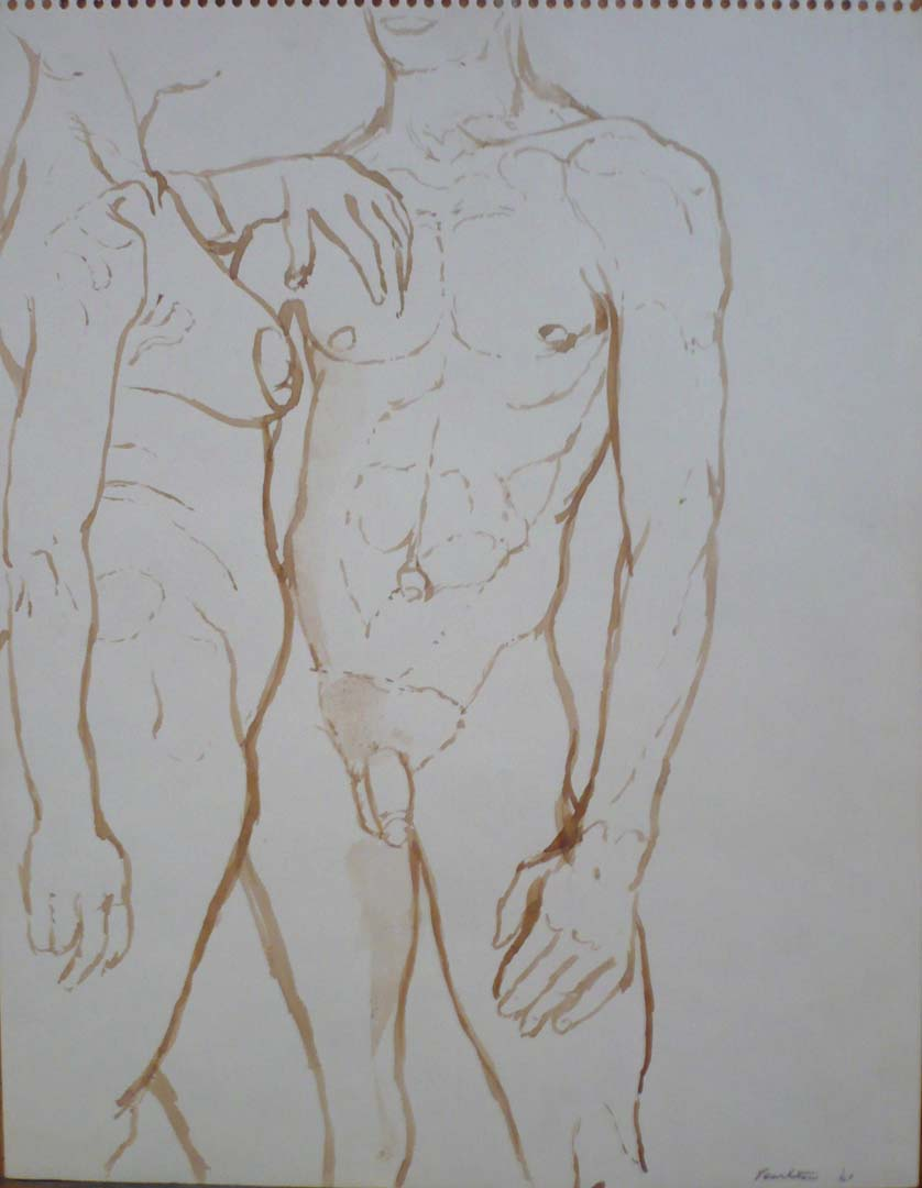 "1961 Female and Male Nudes Facing Each Other Sepia on Paper 13.875"" x 10.875"""