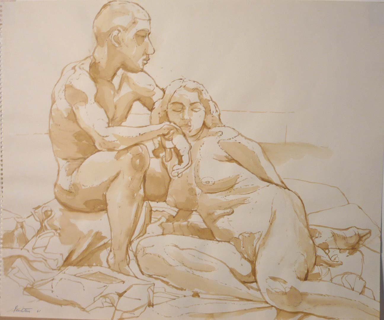 1961 Male and Female Models Seated on Floor Sepia on Paper 14 x 16.75