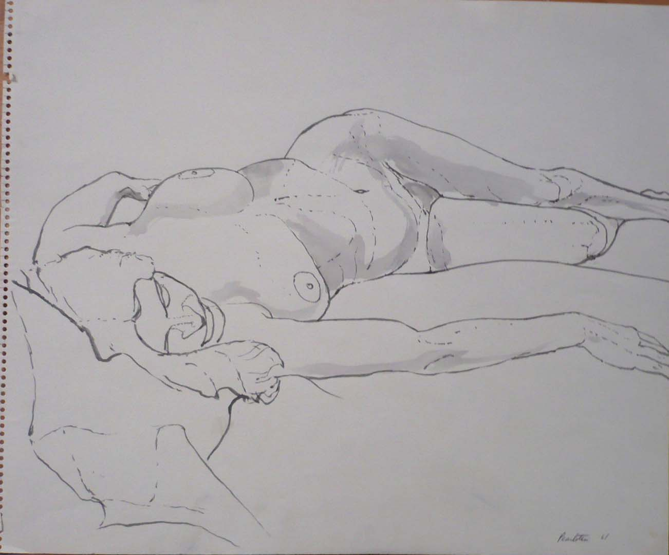 "1961 Reclined Female Nude Wash on Paper 14"" x 17"""
