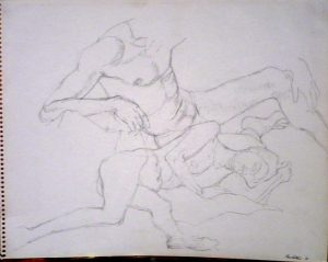 1961 Reclined Female Nude and Seated Male Nude Pencil on Paper 11 x 14