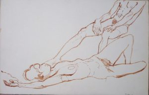 1961 Reclining Female Nude and Seated Male Nude Sepia on Paper 13.5 x 20.75