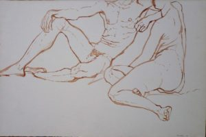 1961 Seated Male & Female Models Sepia on Paper 13.625 x 20.5