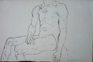 1961 Seated Male Nude Wash on Paper 13.625 x 10.625