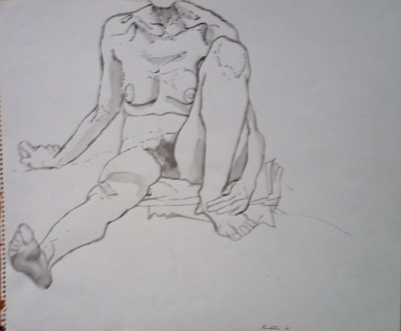 "1961 Seated Model in Studio Wash on Paper 14"" x 17"""