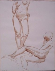 1961 Standing Female Model and Reclining Male Model Sepia on Paper 14 x 11