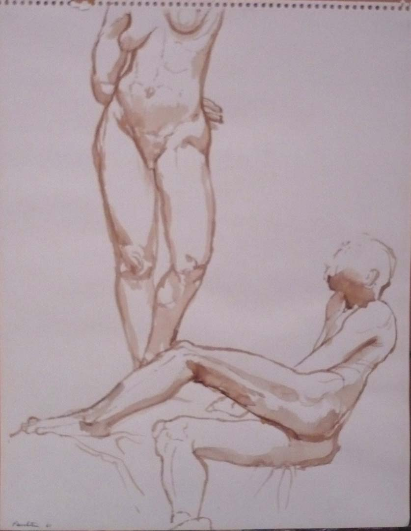 "1961 Standing Female Model and Reclining Male Model Sepia on Paper 14"" x 11"""