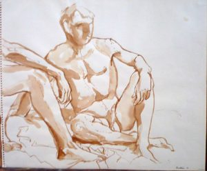 1961 Two Seated Models in Studio Sepia on Paper 14 x 16.875