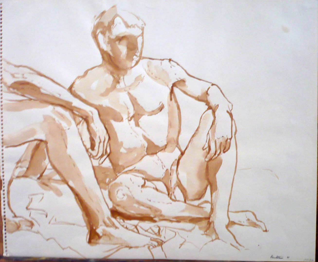 "1961 Two Seated Models in Studio Sepia on Paper 14"" x 16.875"""
