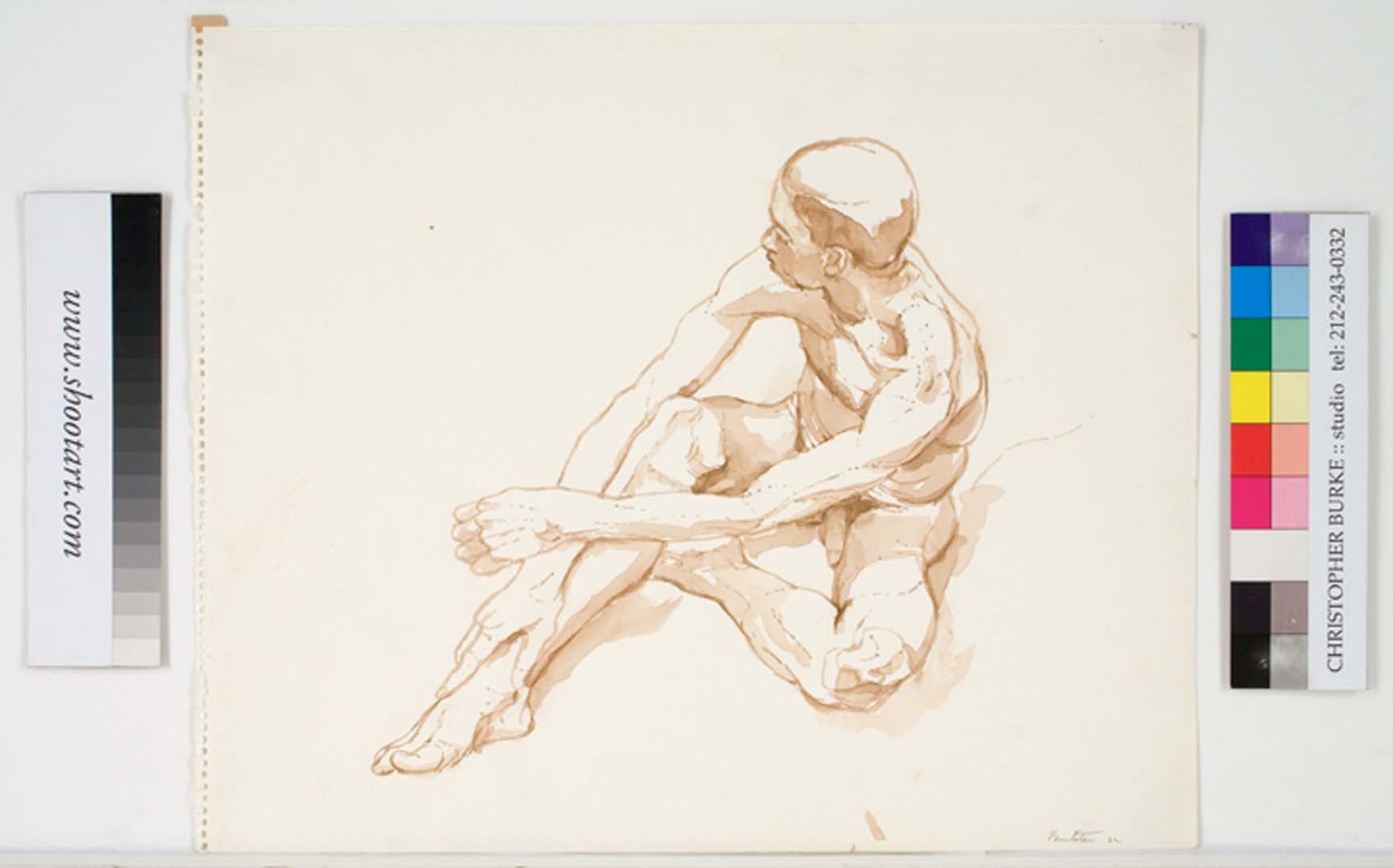 "1962 Male Model Seated on Floor Sepia Wash 13.875"" x 16.875"""