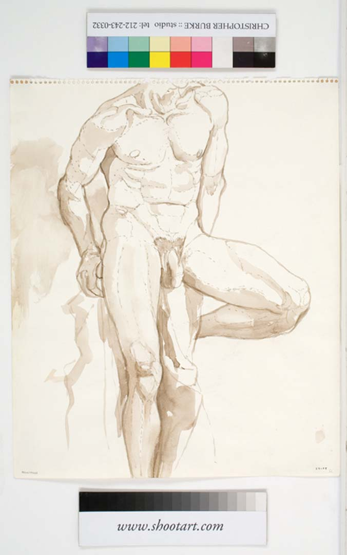 "1962 Male Nude Seated on Stool Sepia Wash 17"" x 13.875"""