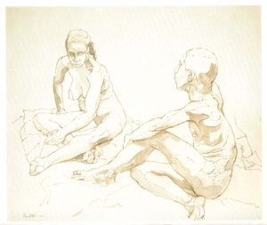 1962 Male and Female Models Sitting on the Floor Sepia Wash on Paper 14 x 16.75