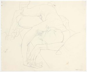 1962 Reclined Female Model Pencil 13.875 x 16.75