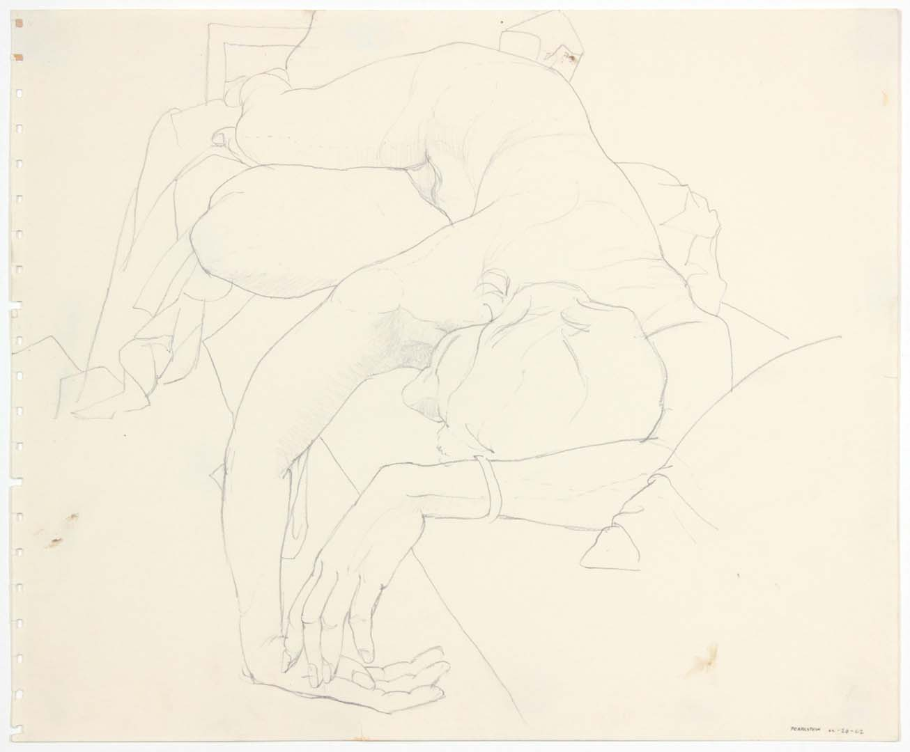 "1962 Reclined Female Model Pencil 13.875"" x 16.75"""