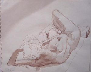 1962 Reclining Female Model Sepia 11 x 14