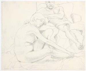 1962 Seated Female and Reclining Male in Armchair Pencil 14 x 17