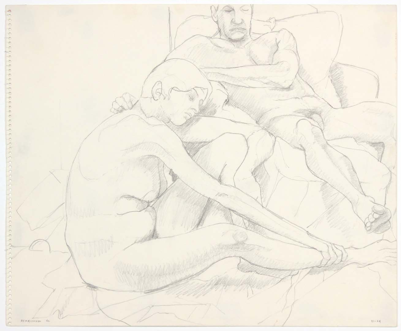 "1962 Seated Female and Reclining Male in Armchair Pencil 14"" x 17"""