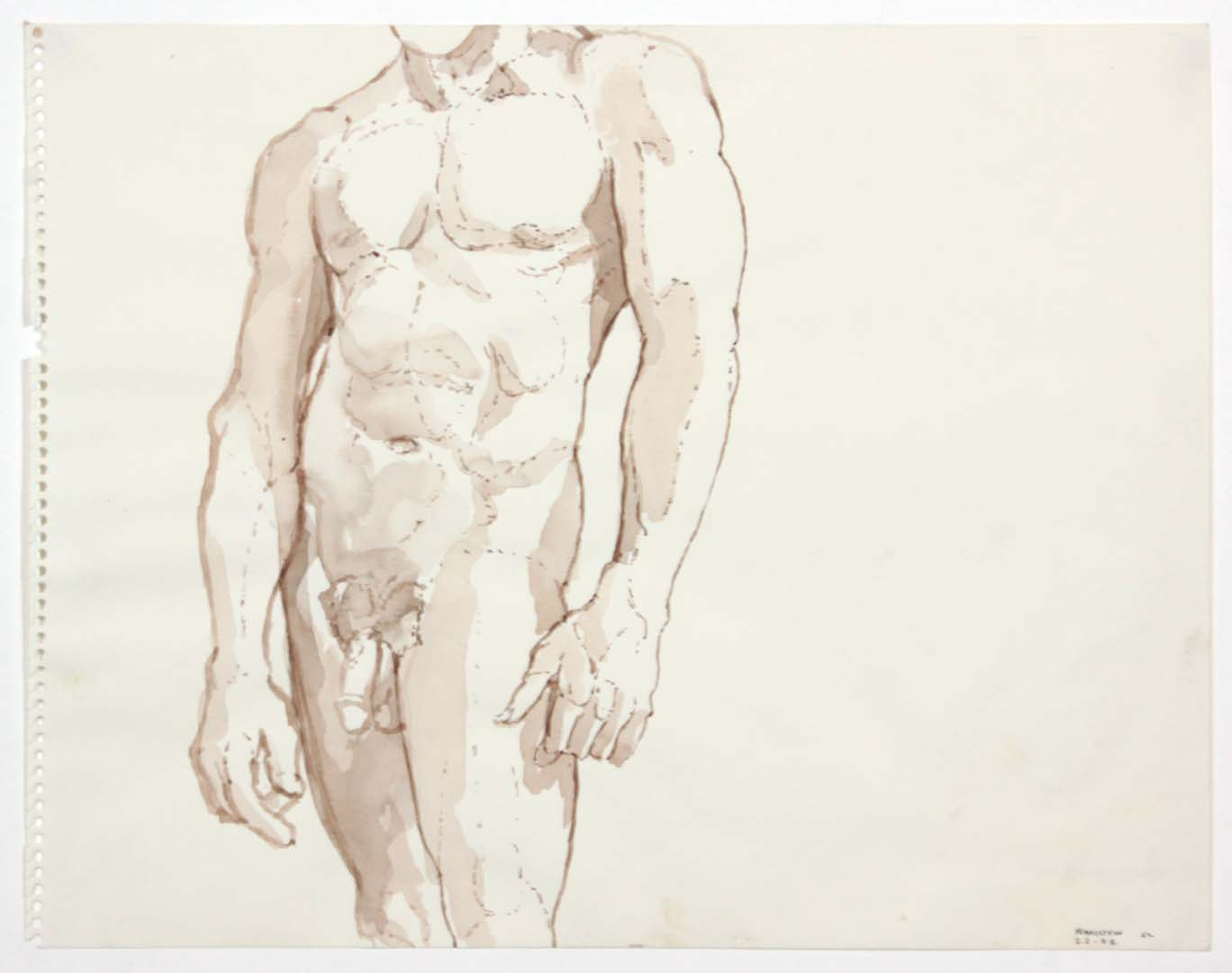 "1962 Standing Male Nude Wash 11"" x 14"""