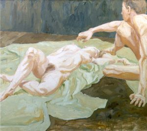 1962 Two Models on Studio Floor Oil on Canvas 44 x 50