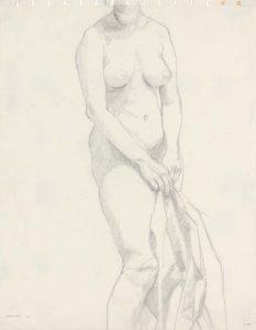 1963 Female Model Holding Drape Pencil 13.75 x 10.75