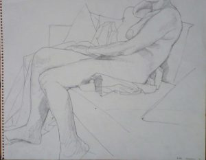 1963 Female Model Seated on Sofa Pencil 11 x 14