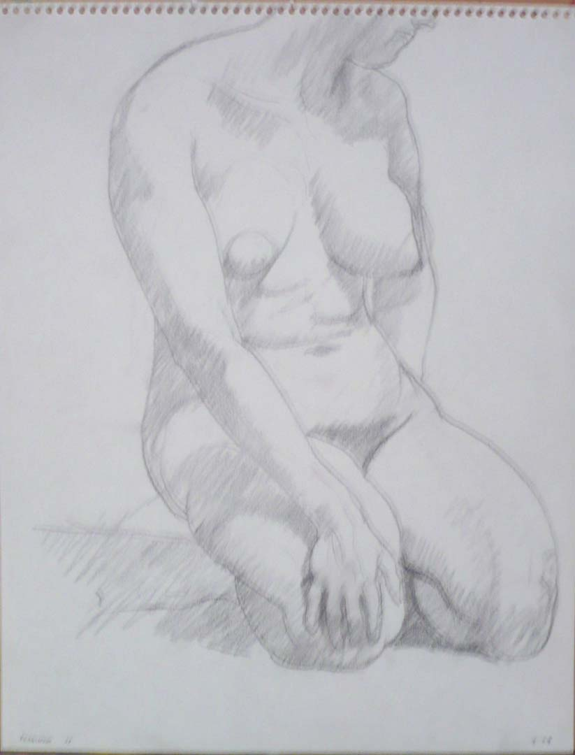 "1963 Kneeling Figure Pencil 14"" x 11"""
