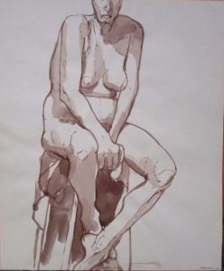 1963 Nude Seated on Stool Sepia 16.625 x 13.875