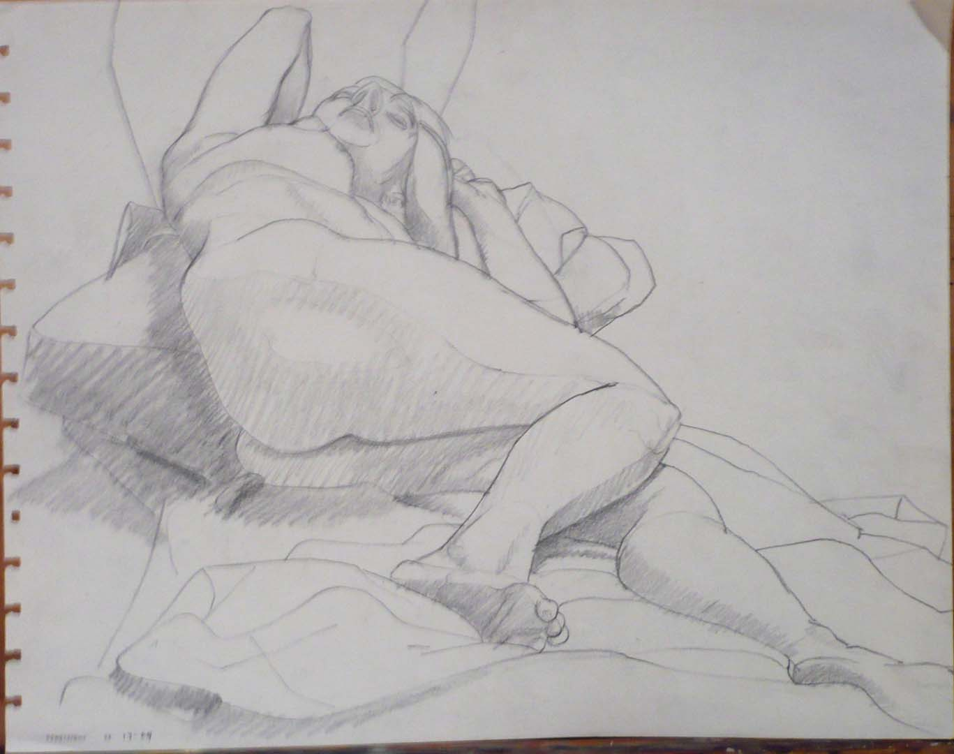 "1963 Reclined Female Model Pencil 10.75"" x 13.75"""