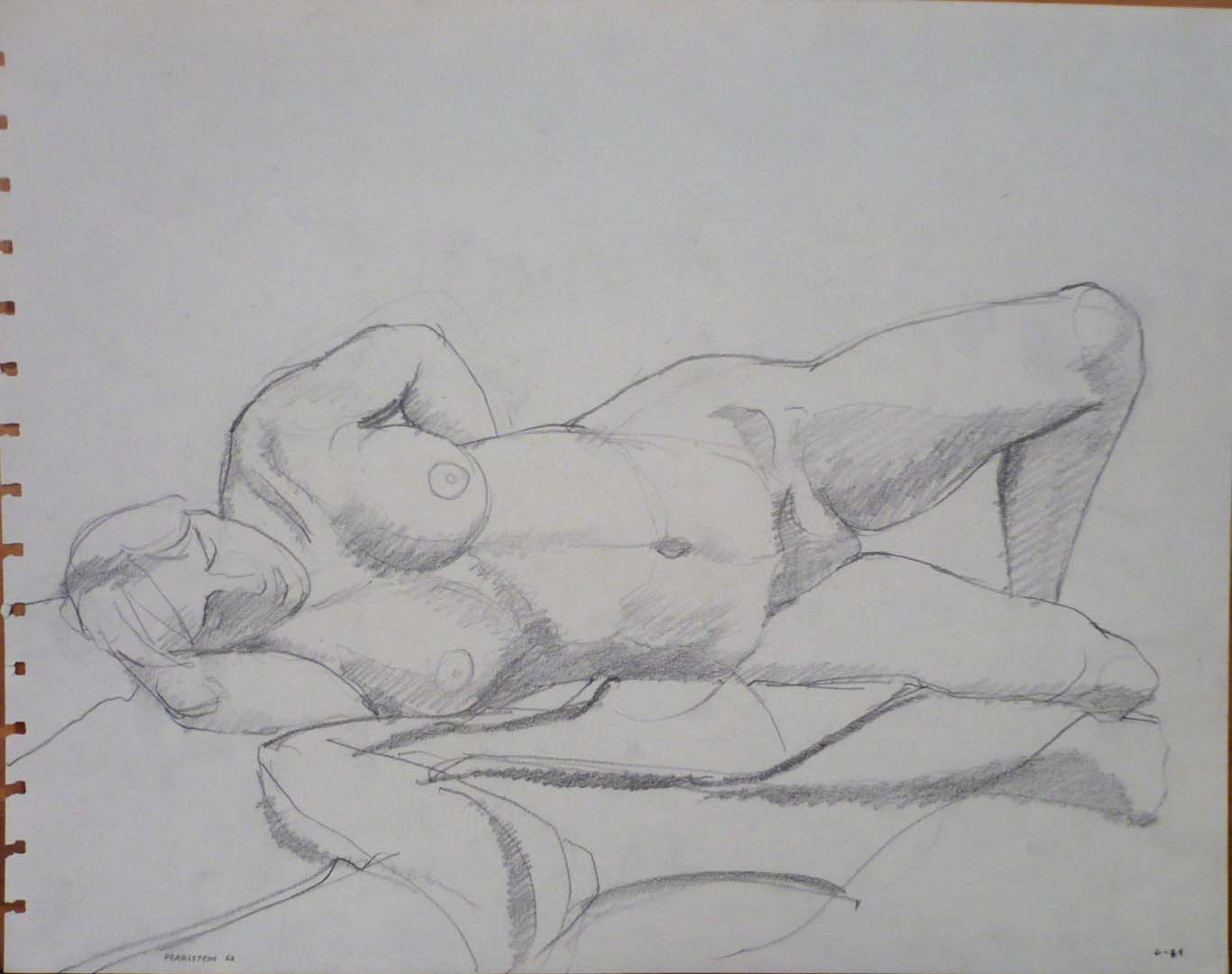 "1963 Reclined Female Model on Drape Pencil 10.75"" x 13.75"""