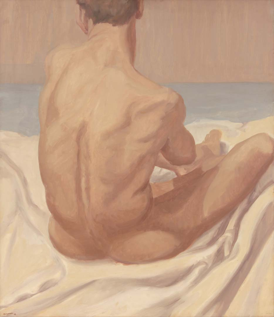 1963 Seated Male Nude Oil on Canvas 30 x 25