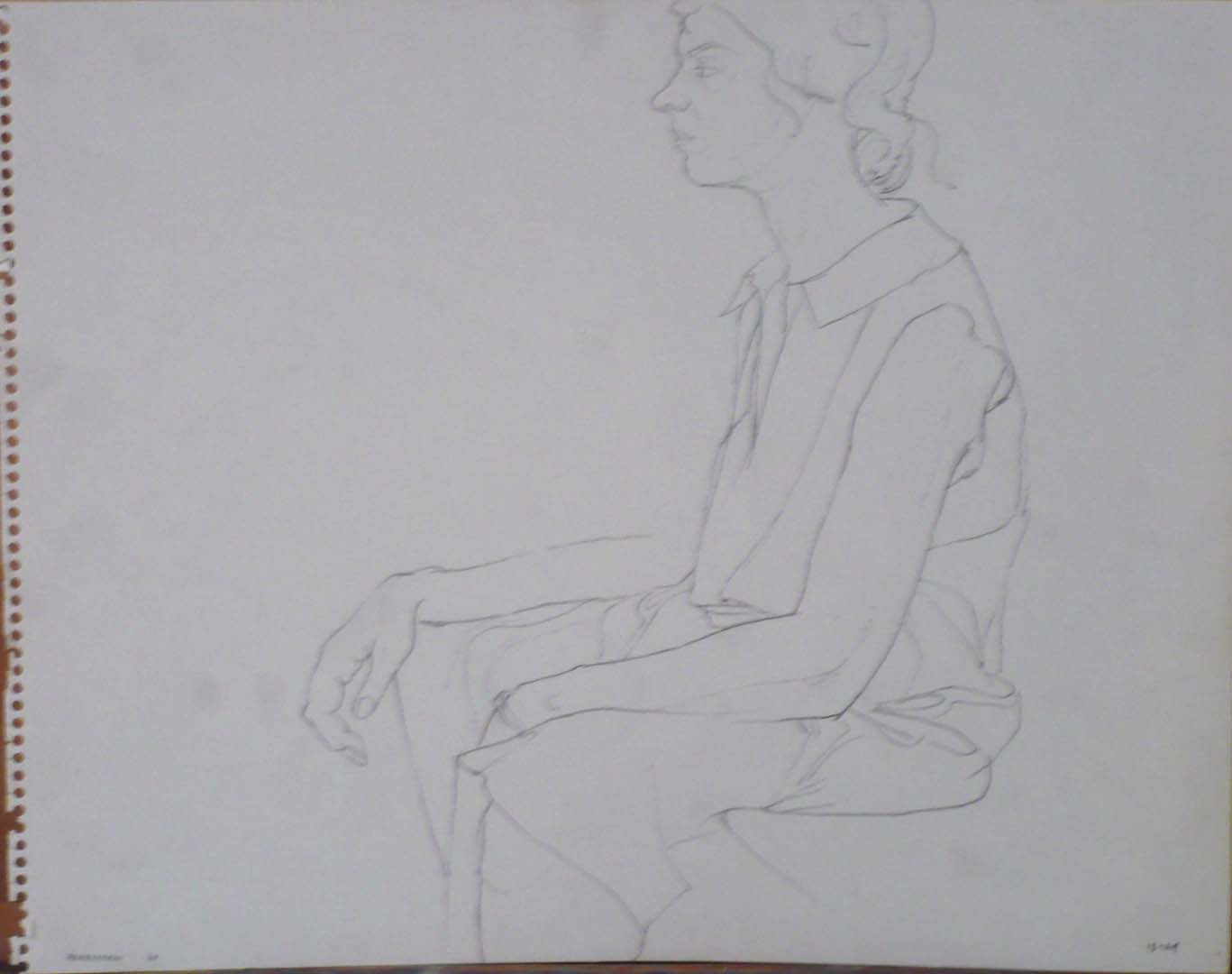 "1963 Seated Model Wearing a Dress Pencil 11"" x 14"""