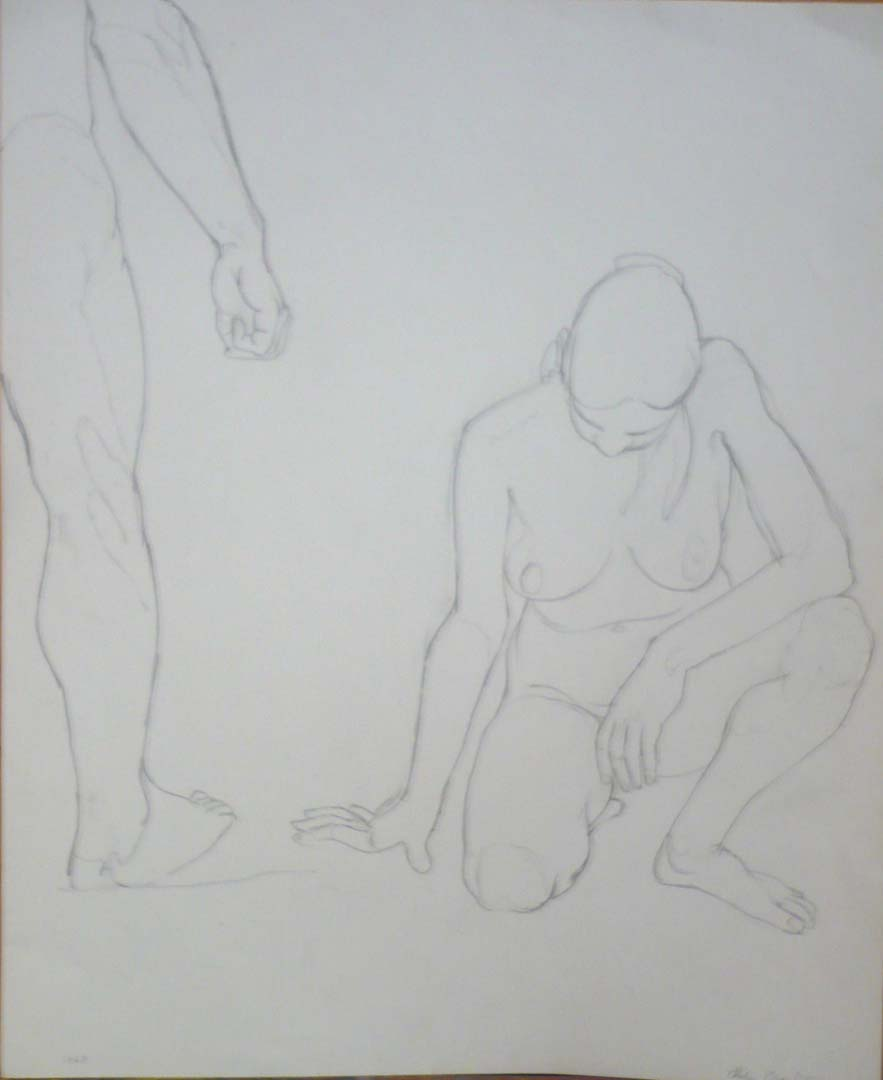 "1963 Standing Male and Kneeling Female Pencil 16.625"" x 13.625"""