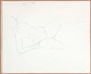 1965 Reclining Female Model (Partial) Graphite 13.75 x 17