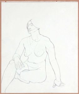 1965 Seated Female Nude Graphite 17 x 14
