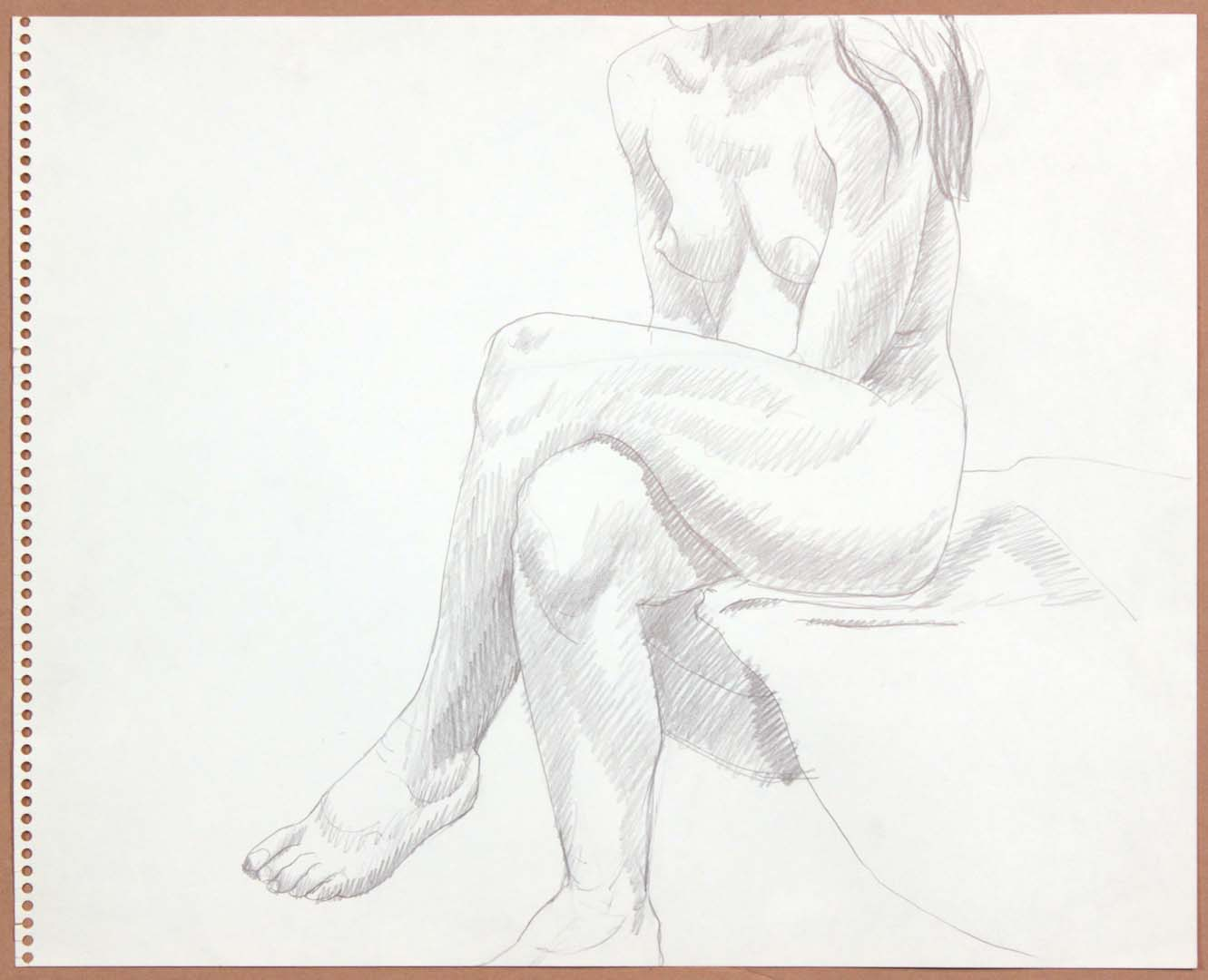 "1965 Seated Female with Legs Crossed Graphite 13.75"" x 17"""