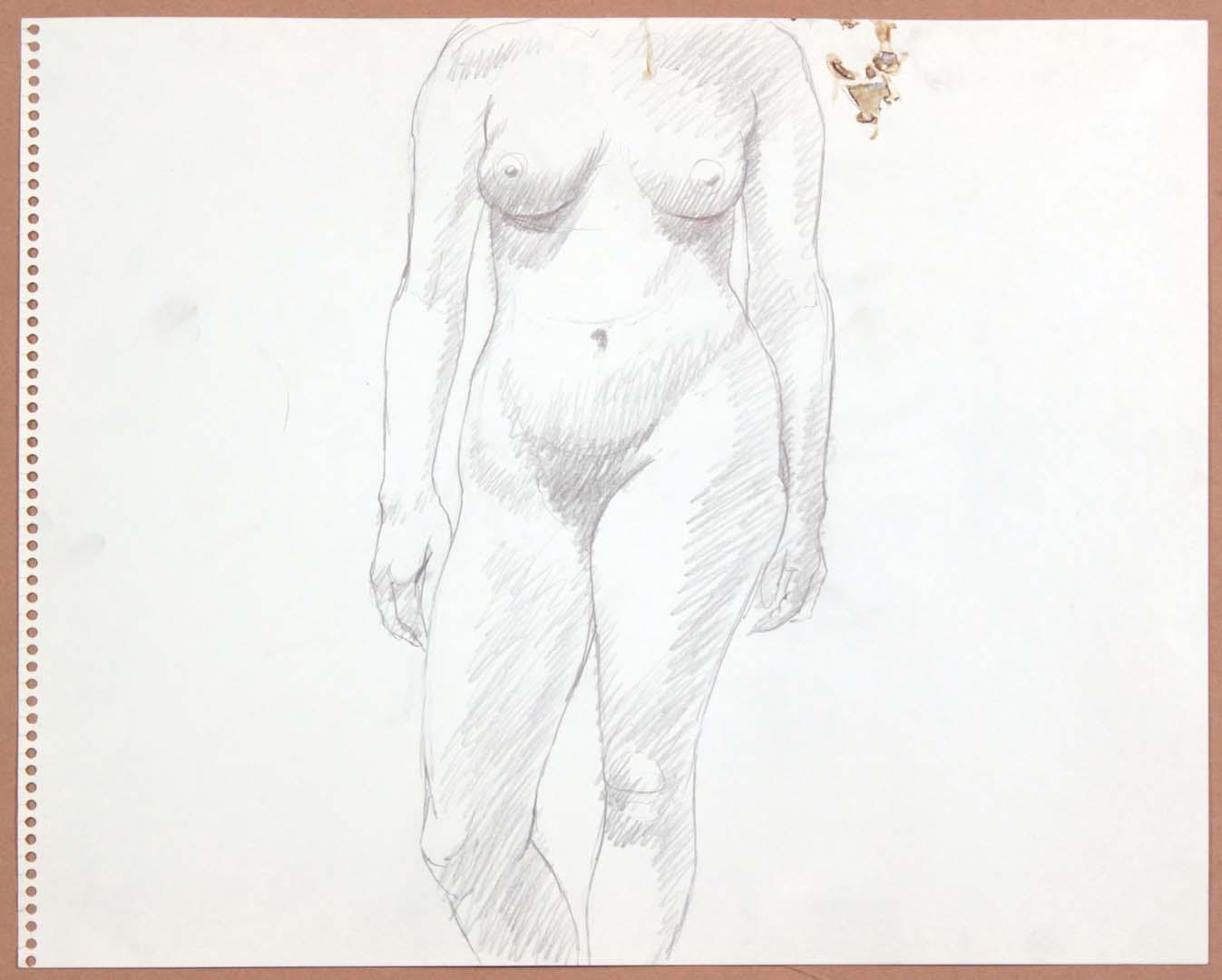 1965 Standing Female Graphite 13.75 x 17
